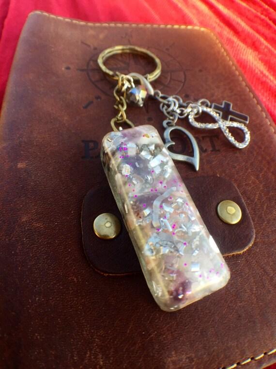 Purple Wizard's Wand Orgonite® Keychain- Violet Flame Orgone Generator- Amethyst Fairy Magic Orgonite® Keychain- Imagination, Wonder, Hope