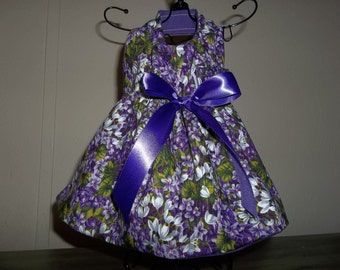 Purple Floral Dress for female dogs. size XS-XL