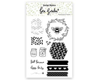 Bee Garden stamps, photopolymer clear stamp set, bee stamp, honeycomb stamp, pattern stamps, leaf stamp, wreath stamp, washi stamp