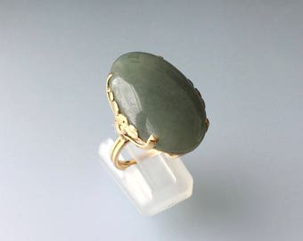 14k Green Jade Cab Ring