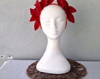Ladies red leather crown headband fascinator