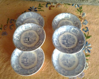 Blue and white transferware butter pats, set of six
