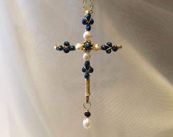 Pearl cross-blue crystal cross-wire wrapped beaded cross pendant necklace-renaissance cross-beaded crucifix-wire cross-spiritual necklace