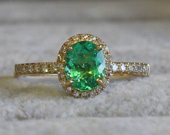 SOLD    Emerald ring 18ct Yellow Gold Colombian Emerald and 36 Diamonds Ring. Certified NCJV-FGAA