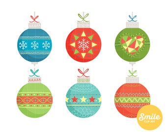 Christmas Baubles Clipart for Commercial Use - C0344