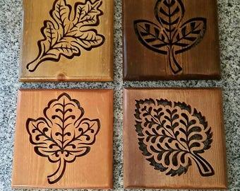 Set of 4 Wooden Leaf Plaques