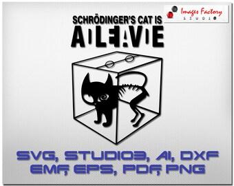 Schrodinger's Cat Dead Alive - cuttable Cricut Design Space Silhouette Digital Cut Files Instant Download, svg dxf studio3 png pdf clipart