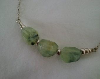 Prehnite Nuggets and Silver Necklace