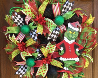 Christmas Wreath, Deco mesh, Green Monster, Merry Christmas, Merry Xmas, Happy Holidays, WInter home decor, Xmas wreath, Christmas door deco