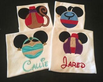 Aladdin inspired Disney Shirts - Jasmine - Aladdin - Abu - Genie available