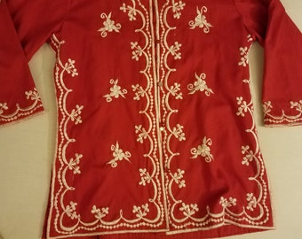 Vintage Chuchi embroidered red shirt.  60's-70's small --med red shirt.