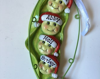 33% Off Five peas in a Pod Personalized Christmas Ornament Family of Five, Grandkids, Coworkers, BFFS,