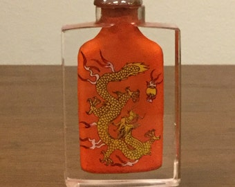Vintage Chinese Dragon Reverse Handpainted Snuff Bottle Orange And Yellow