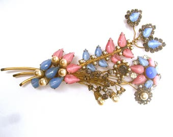 1950s Massive Pastel Glass Flower Spray Brooch