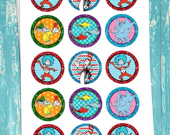 "Dr. Seuss Inspired - Cat In The Hat - Thing 1 Thing 2 - Glittered - Digital Bottle Cap Images - INSTANT DOWNLOAD - 1"" Bottle Cap Images 4x6"