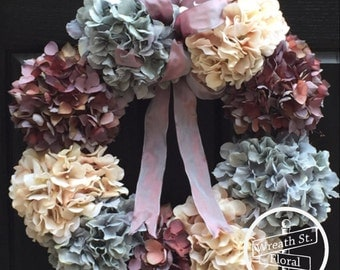 Hydrangea Wreath, Wreath, Front Door Wreath, Year Round Wreath, Grapevine Wreath, Spring Wreath, Summer Wreath, Wreath Street Floral
