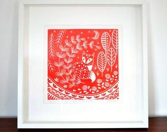 Daniel Fox in red, limited edition linocut print