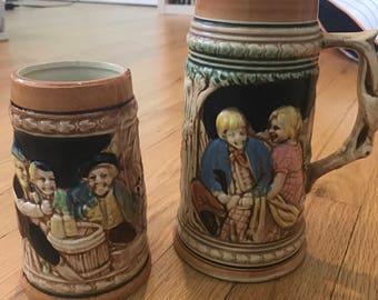 2 Vintage German Beer Steins Made in Japan. Allen Scmerz