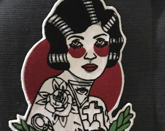 WOMAN Old school tattoo Iron Patch