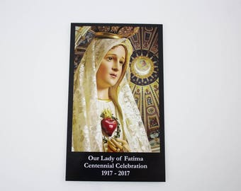 Our Lady of Fatima Centennial Commemorative Collector Series Prayer Card - Religious Ephemera for Bible Scrapbooking  HC15