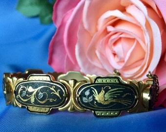 Vintage Damascene Style Bird and Flower Link Bracelet, Damascene Style Bracelet, Link Bracelet