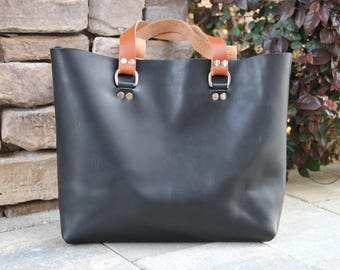 Black Leather Tote Bag, Horween Leather Tote, Raw Edge Leather, Unlined Leather