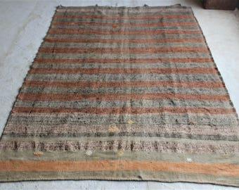 6'4''x8'10'' Colorful Striped Kilim, Orange Line Rug, Distressed Vintage Kilim, Old Kilim, Large Kilim Rug, Turkish Oriental Kilim Rug