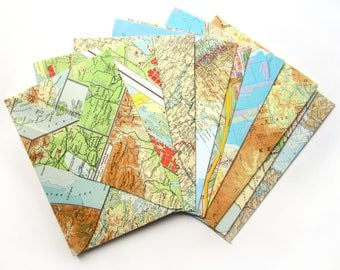 Set of 12 world map envelopes (Suitable for A5 cards)