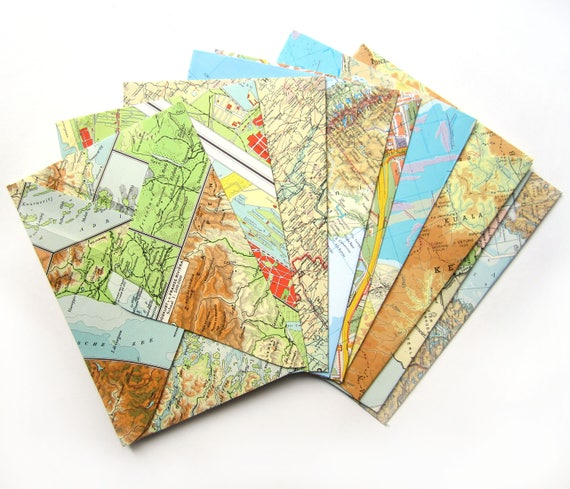 Set of 10 world map envelopes (Suitable for A5 cards)