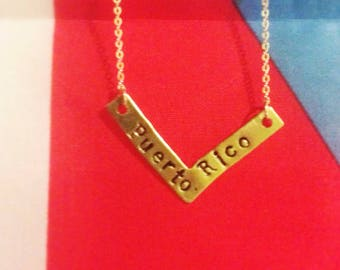 Puerto Rico handmade metal stamped necklace.