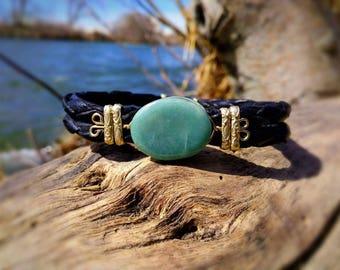 Jadiete jade and leather bracelets