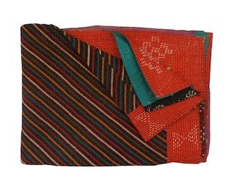 Vintage Kantha Quilt  Kantha Throw Reversible Kantha Quilt