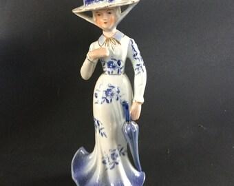 """Vintage KPM Blue / White Victorian Lady Porcelain Figurine 9-1/4"""""""