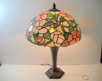 Large Stained Glass Birds and Flowers Table Lamp