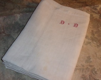 Antique linen fabric, little sheet, Monogram, D.D.