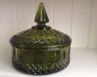 Indiana glass avocado green candy dish