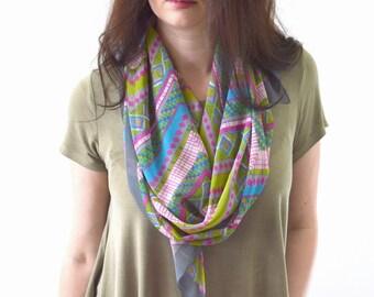 Geometric Print Scarf, Woman Scarf, Summer Scarf, Fashion Scarf, Gift for Her