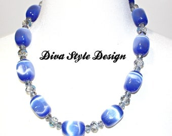 Chunky Blue Cats Eye & Crystal Statement Necklace