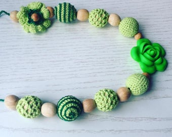 Nursing  necklace Silicone teething  Green Crochet   Babywearing necklace Breastfeeding necklace Wooden beaded necklace Easter sale