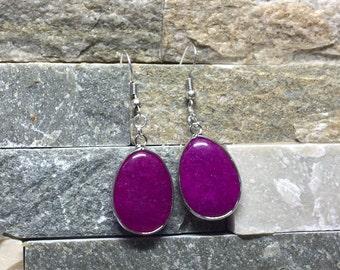 Earrings jade silver Fuchsia earring