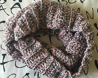 Crochet Cowl • Crochet Scarf · Pink and Grey Cowl