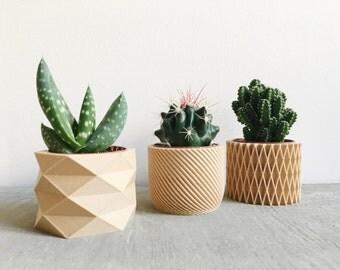 Set de 3 Mini Pots / Cache-pots géométriques imprimés en Bois, design hygge parfaits pour plantes grasses ou cactus !