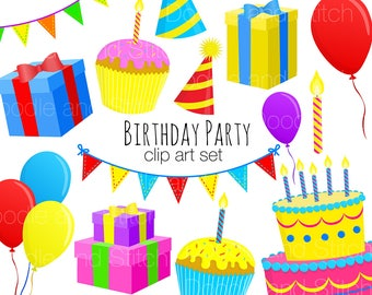 Birthday Clip Art Pictures, Party Clipart Designs, Illustrations for Invites, Digital Download Art, Digital Stickers