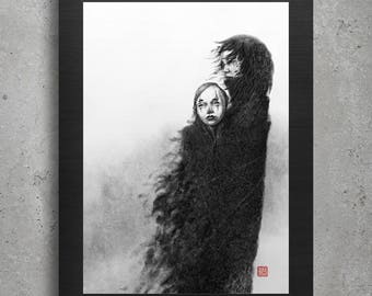 Digital print, Art Prints, Printable Art, Printable Poster, Black and White, Digital Download, Fantasy Print