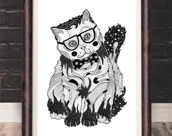 Super Intelligent Cat - I like cats A4 A5 pet portrait, illustration, illustration, cat lovers, cat print, cat portrait