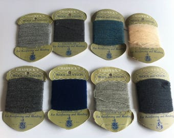 Chadwick's Wool, Nylon thread, reinforcing, mending, vintage set of 8 colours.