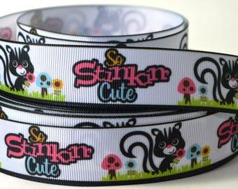 "1"" So Stinkin Cute - Skunk - Grosgrain Ribbon"