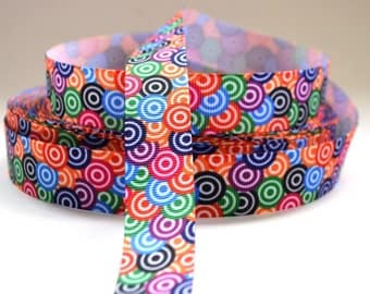 "7/8"" Circle Ribbon - Bright Multi Colored Circles - Printed Grosgrain Ribbon"