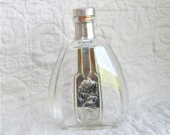 Vintage Cognac Bottle, French bottles, silver accent bottles, liqour bottles, wine vessels, decorative spirit bottles