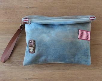 Clutch Distressed denim and striped ribbon, sac a main, zippered purse